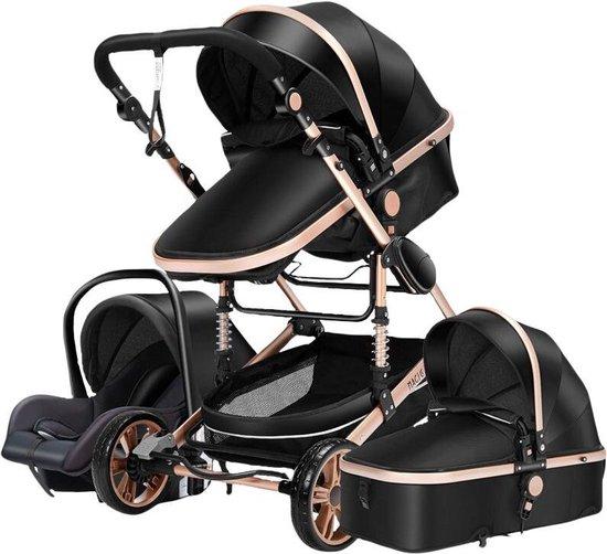 Product: Baby Pro Max® Luxe Baby Buggy 3 in 1 | Baby Wagen | Kinderwagen met stoel en wieg | Hoge Kwaliteit | Zwart, van het merk Eazy Living