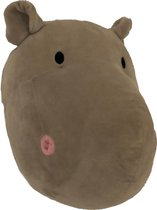 Pluche Dierenkop wandhanger Nijlpaard - H 28 x B 22 x D 20 cm - Wanddecoratie - Muurdecoratie - Jungle - Dieren