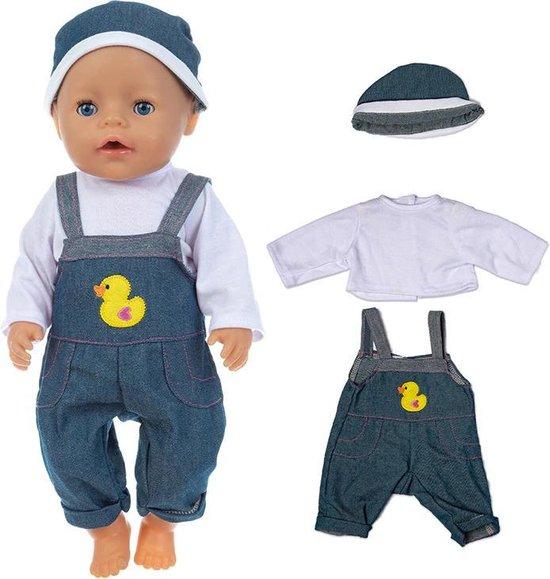 Poppenkleding set met Tuinbroek, Shirt en Muts - Past op poppen tot 43CM, geschikt voor baby born