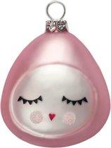 Luckyboysunday Kerstbal Bonbon 7 X 6 Cm Glas Roze/zilver