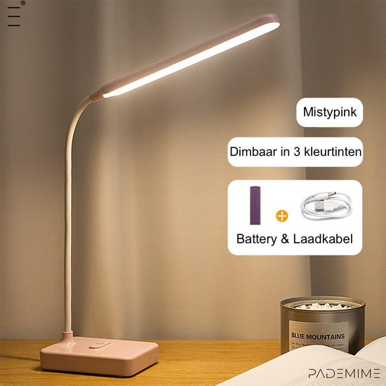 Pademime Misty Pink Oplaadbare draadloze Bureaulamp Tafellamp/ Leeslamp/ Hobbylamp/ Nachtlamp/ Bedlamp/ Led, Dimbaar, 3 Kleurtemperaturen