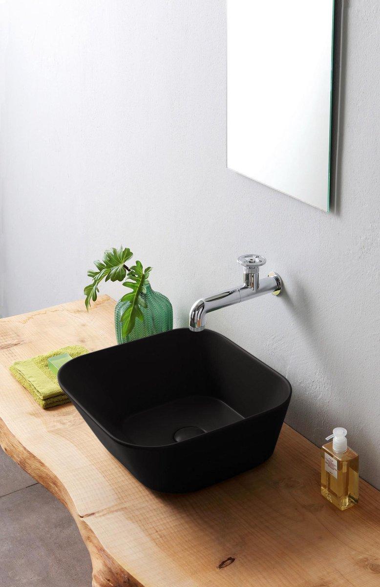 Mees - Opbouw Waskom Vierkant 42x42x16.5 cm - Mat Zwart