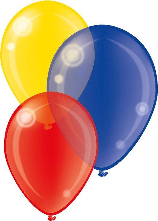 Tib Ballonnen Crystal 28 Cm Latex Rood/geel/blauw 7 Stuks