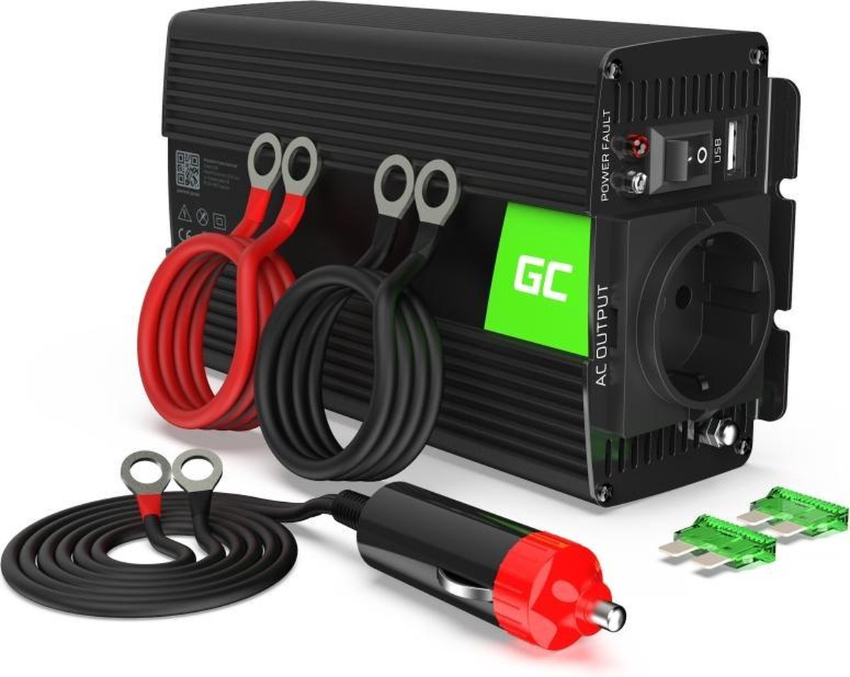 Green Cell Voltage Auto Omvormer - 12V naar 230V - 300W/600W - Gemodificeerde sinusgolf