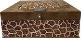 The Box For Tea Licht Bruine Dierenprint Theedoos Met Thee Cadeau - 9 vaks - Bruin