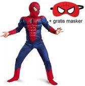 Luxe spider-man pak met spierballen en masker - jaar) - carnavalskleding verkleedpak