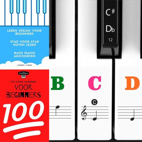ATMERCE Piano Bladmuziek met Lesboek en Gekleurde Stickers voor Witte en Zwarte toetsen - voor Beginners en Gevorderden - Digitaal E-book