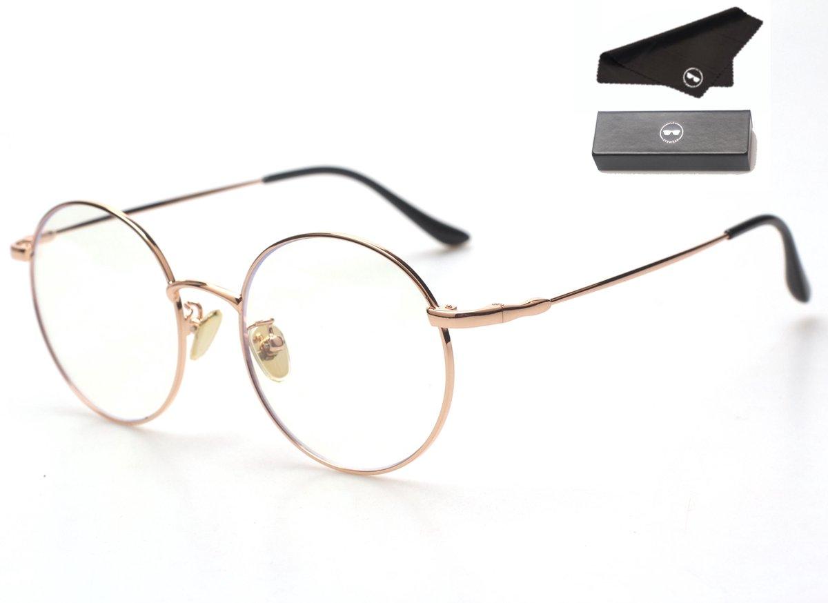 LC Eyewear Computerbril - Blauw Licht Bril - Blue Light Glasses - Metaal - Unisex - Rose Gold