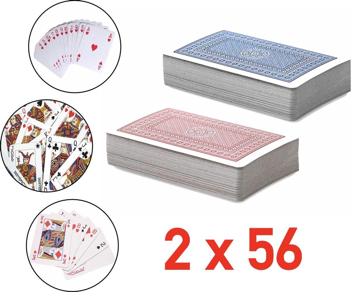 2 x 56 Luxe Speelkaarten - Spelkaarten - Met Handige Opbergdoos - Poker Kaarten - 2 STUKS - Kaartspe