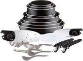 TEFAL INGENIO ESSENTIAL Pannenset 20 stuks L2009702 16-18-20-24-26-28 cm - Alle warmtebronnen behalve inductie - Zwart