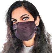 Satijn mondkapje wasbaar   zwart   met katoen   zijde mondmasker