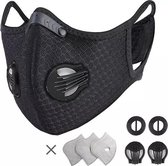 Chibaa Sportmasker ZWART | Mondmasker voor sport |Wasbaar |Mondkapje | Herbruikbaar | Duurzaam|Milieuvriendelijk| Met filter | Gezichtsmasker  |Ventiel  |Wasbaar | Klittenband |3 extra filters | 1 set extra ventiel