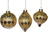 Goodwill Kerstbal Diamantjes Goud-Roze-Lila D 10 cm Assortiment van 3 stuks