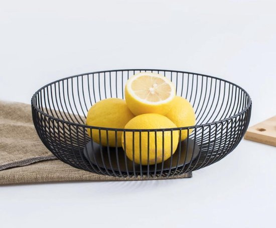 Greenure Fruitschaal - Fruitmand - Ronde Schaal - Zwart - 28 x 15.5 x 7.5cm