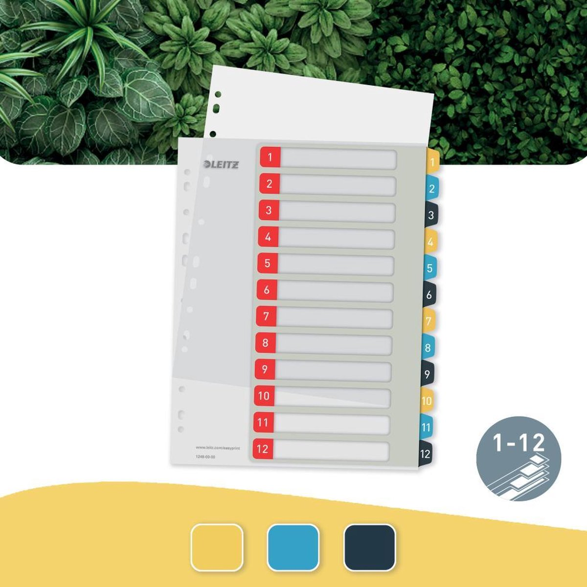 Leitz Cosy Printbare PP Tabbladen - 1-12 Numerieke Tabbladen - Tabbladen a4 - Tabbladen Voor Ordners