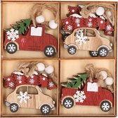 Kersthanger set van 8x houten auto hangers 6 x 5 cm - houten kerstboomversiering ornamenten