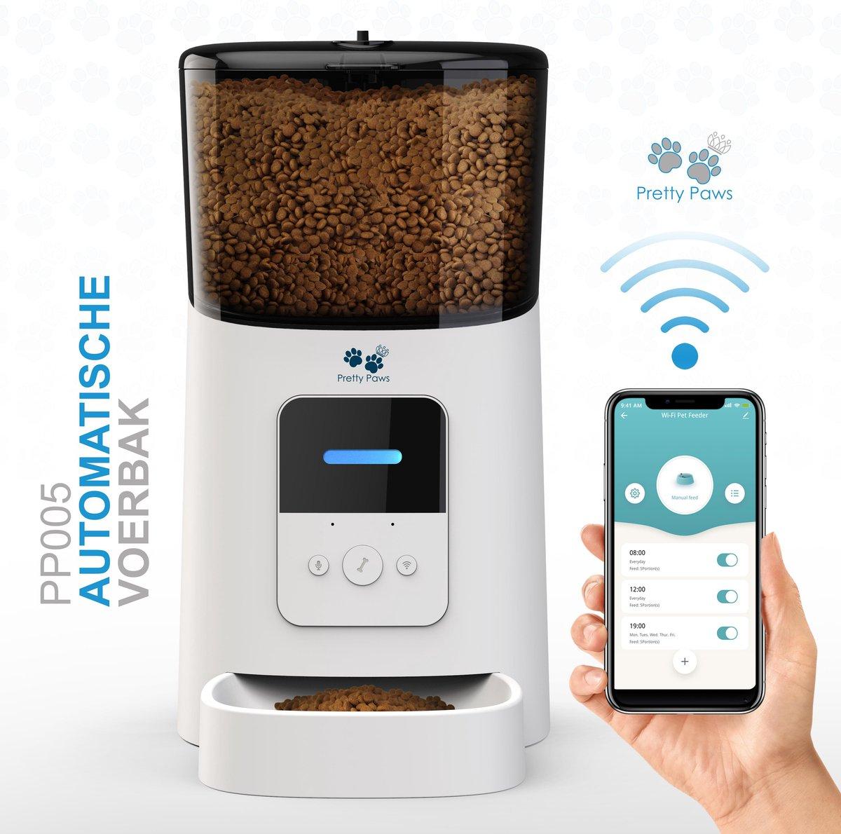 Pretty Paws  - PP005 - Wifi Voerautomaat Wit - Automatische Voerbak - Slimme Voerautomaat met App -