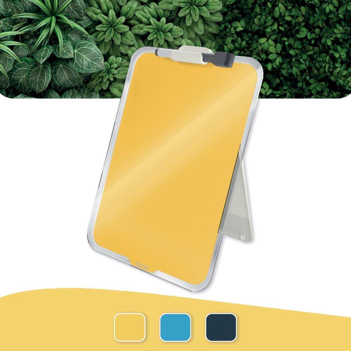 Leitz Cosy Beschrijfbare Glassboard Voor Bureau - Clipboard a4 Formaat - Glazen Memobord Inclusief Inclusief Pennenhouder En Minimarker Met Wisser - Warm Geel