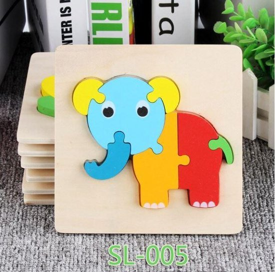 Baby speelgoed | Houten puzzel | olifant Puzzel | Peuter puzzel | 7 delig