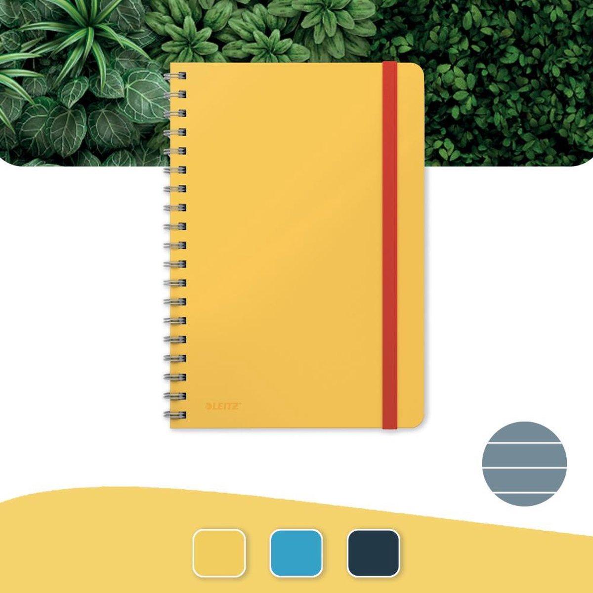 Leitz Cosy Notitieboek B5 Soft Touch Gelijnd - Notitieboek Hard Cover - Spiraalgebonden - Voor Kantoor En Thuiswerken - Warm Geel - Ideaal Voor Thuiskantoor