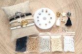 Zelf sieraden maken Kralen set DIY - Kinderen en volwassenen pakket - 4mm kraal - Zwart, goud, zilver, wit