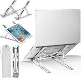 Laptop Standaard - Verstelbaar en Opvouwbaar - Aluminium Laptop en Tablet Houder met Opbergzakje