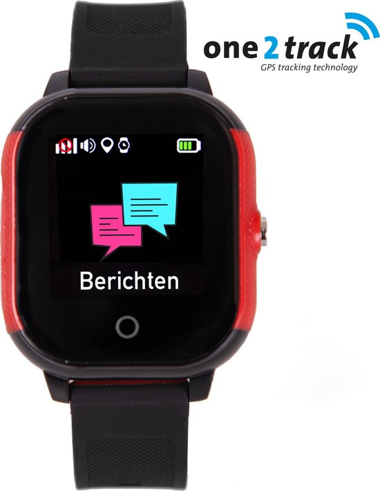 One2track Connect Go - Kinder GPS Smartwatch - Rood/Zwart