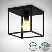 B.K.Licht - Plafondlamp - zwart - industrieel - metaal - retro - kooi - slaapkamer - plafoniere - excl. E27