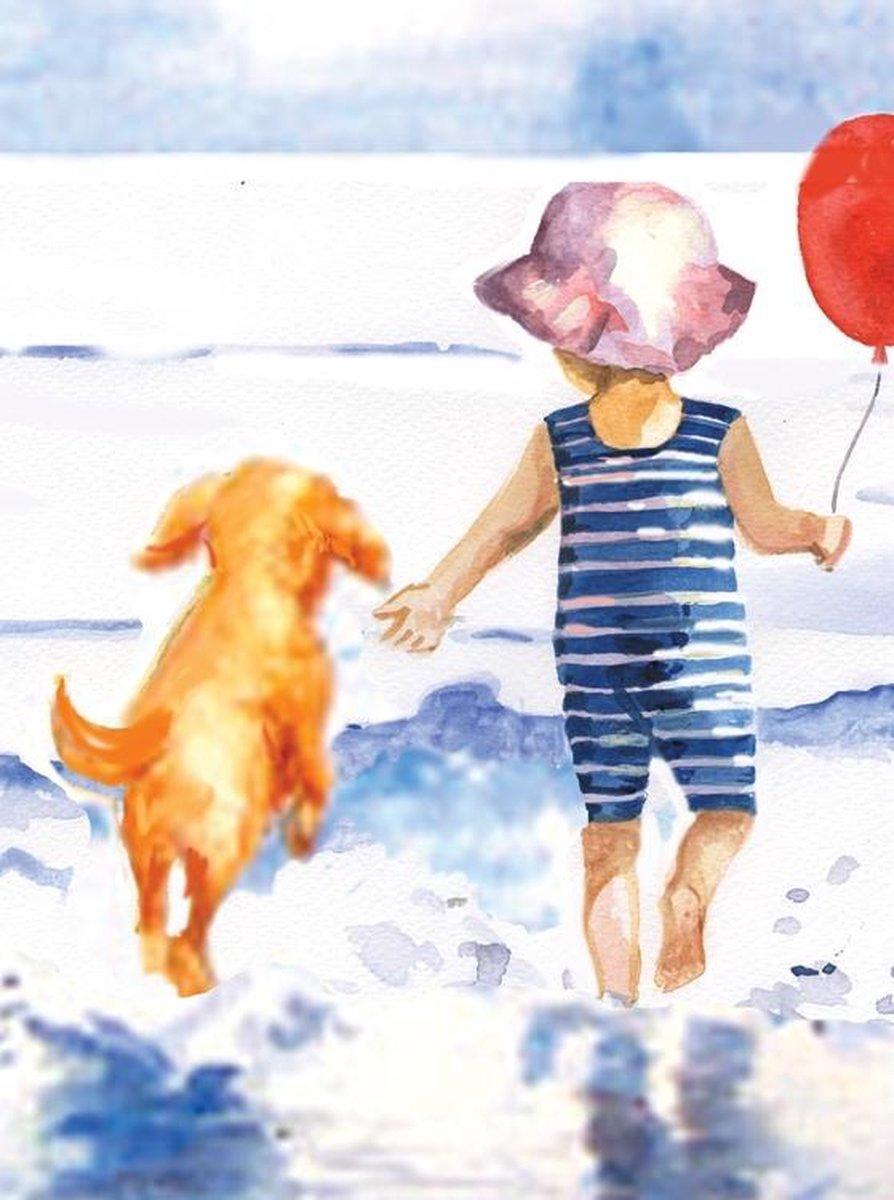 Schilderen op nummer - Paint by numbers - Kind met hond in de zee 22x30cm - Schilderen op nummer volwassenen - Paint by numbers volwassenen