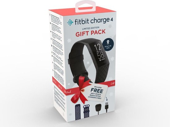 Fitbit Charge 4 - Activity tracker - Giftpack - Extra blauwe sportband en extra oplaadkabel - Zwart/Blauw