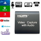 Gaming HDMI capture card inclusief microfoon input- 1080P/4K- capture HDMI naar USB- geschikt voor (live) streaming-PS4, Xbox, Nitendo switch, Windows- ondersteunt livestreaming software zoals: VLC, OBS, Amcap, Twitch, Youtube, Facebook,