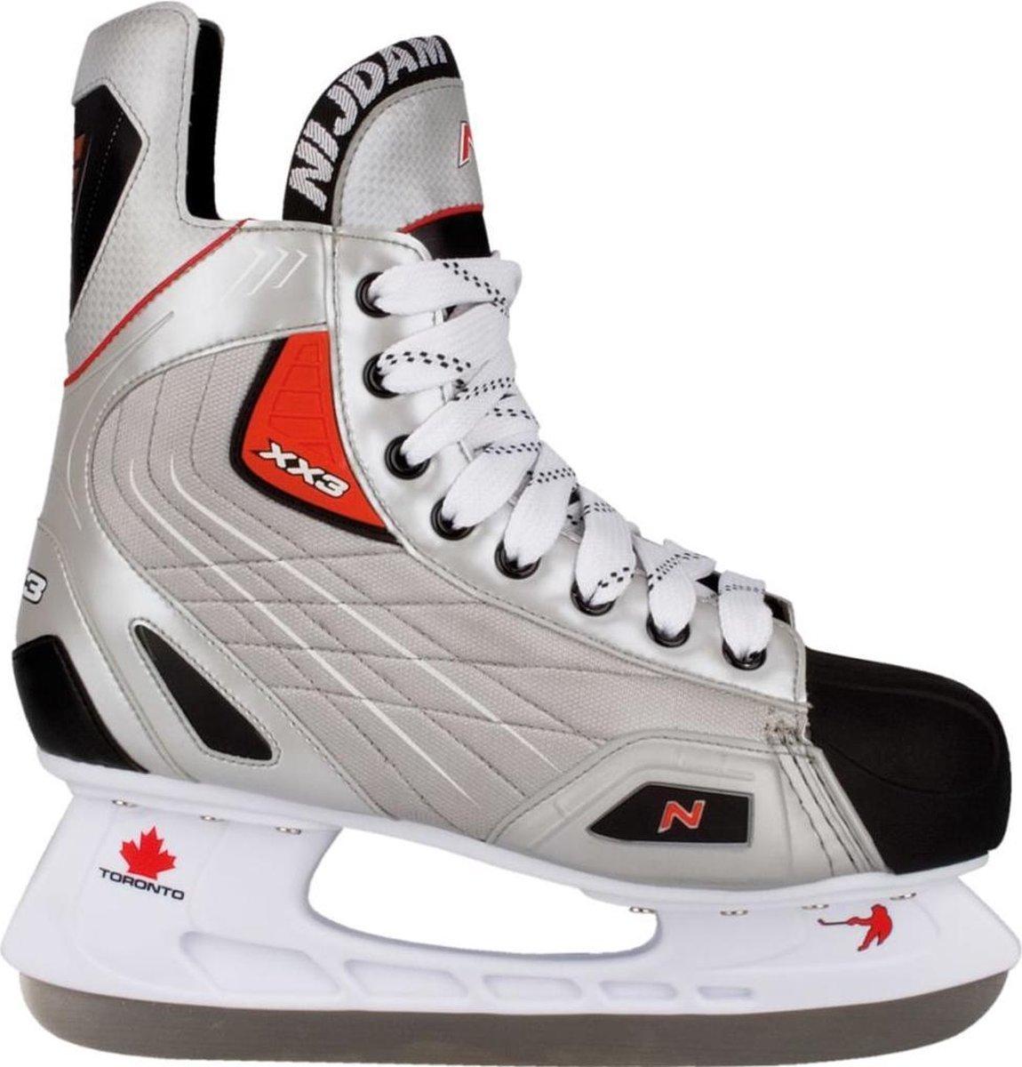 Nijdam IJshockeyschaats Polyester - Deluxe - Zilver/Zwart/Rood - 44
