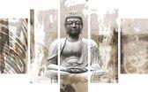 Art for the Home - Canvas Schilderij set - Boeddha - Beige - 150x100cm