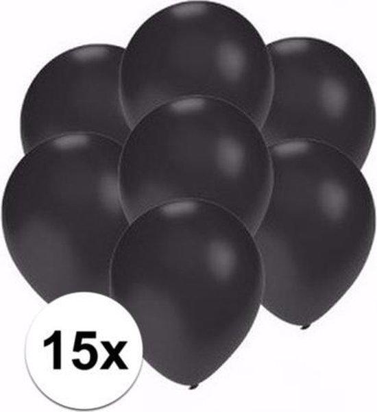 15x stuks Kleine metallic zwarte ballonnen - Feestartikelen en versiering