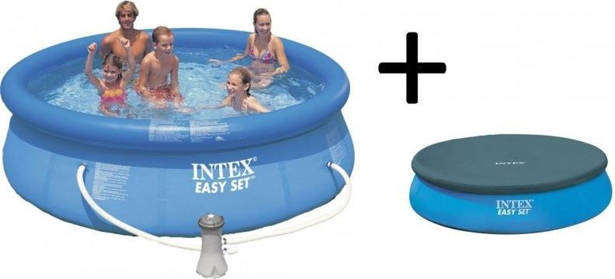 Intex Easy Set Opblaasbaar Zwembad - 366 cm - Inclusief Filterpomp en Afdekhoes