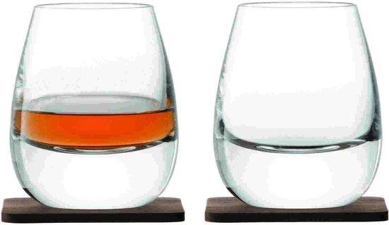 L.S.A. Whisky Islay Whiskyglazen - 250 ml - Incl 2 Walnonten Onderzetters - Set van 2 Stuks