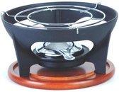 Relance rechaud/warmhouder 3-delig - gietijzer met brander en houten plank