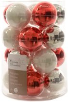 Glas Kerstballen Mix (6cm) Box 20 Stuks Rood-Witte Mix