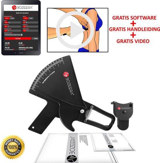 Huidplooimeter PRO en Body Mass Tape / Vetmeter PRO en Meetlint Lichaam / Met GRATIS Software, Video Uitleg en Nederlandse Handleiding - BOZEERA©