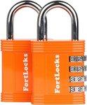 Fortlocks Cijferslot 4 Cijferig - Sterk Hangslot Met Cijfer Sluiting - Combinatie Code Padlock - Weerbestendig Buiten Slot - Fiets - Orange - 2 Stuks