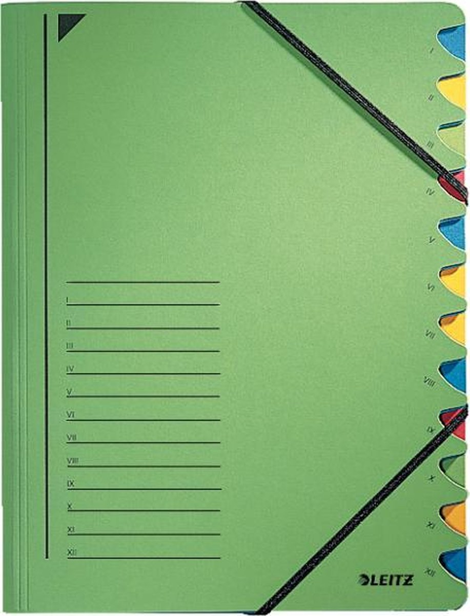 Sorteermap Leitz 12-Vaks Groen