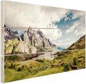 Berggebied Hout 120x80 cm - Foto print op Hout (Wanddecoratie)