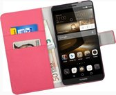 Roze Huawei Ascend Mate 7 Bookcase Wallet Cover Hoes