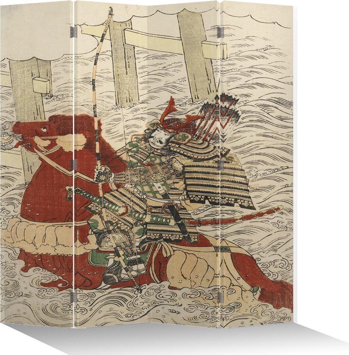 Orientique Kamerscherm 4 Panelen Japanse Generaal Canvas Room Divider - Orientique