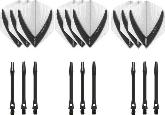 Dragon darts - 3 sets - XS100 Vista - Clear - Darts flights - plus 3 sets - aluminium - darts shafts - zwart - medium