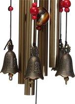 Vintage Bronzen Windorgel / Windgong Met Bellen - Wind Chime Met 4 Klanktubes