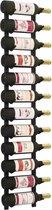 vidaXL Wijnrek wandmontage voor 12 flessen ijzer zwart