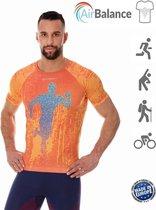 Brubeck Athletic - Airbalance Hardloopshirt / Sportshirt Heren - Oranje - L