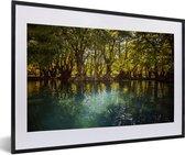 Poster met lijst Nationaal park Lago de Camécuaro - De zon schijnt door de bomen op het water van het Nationaal park Lago de Camécuaro fotolijst zwart met witte passe-partout - fotolijst zwart - 60x40 cm - Poster met lijst