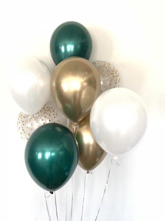 Huwelijk / Bruiloft - Geboorte - Verjaardag ballonnen | Donker Groen - Goud - Off-White / Wit - Transparant - Polkadot Dots | Baby Shower - Kraamfeest - Fotoshoot - Wedding - Birthday - Party - Feest - Huwelijk | Decoratie | DH collection